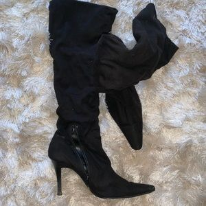 Suede black knee high boot size 7.5 Nordstrom